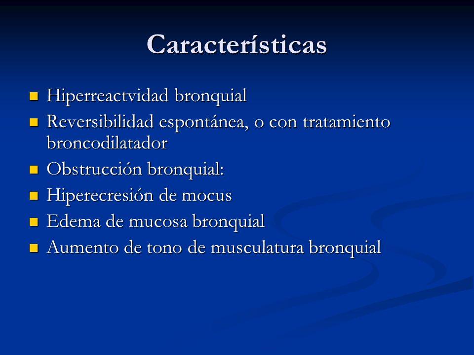 Características Hiperreactvidad bronquial Hiperreactvidad bronquial Reversibilidad espontánea, o con tratamiento broncodilatador Reversibilidad espont