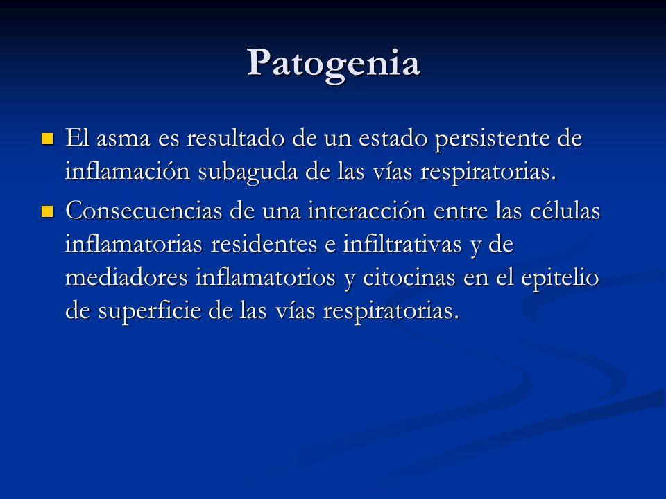 Patogenia El asma es resultado de un estado persistente de inflamación subaguda de las vías respiratorias. El asma es resultado de un estado persisten