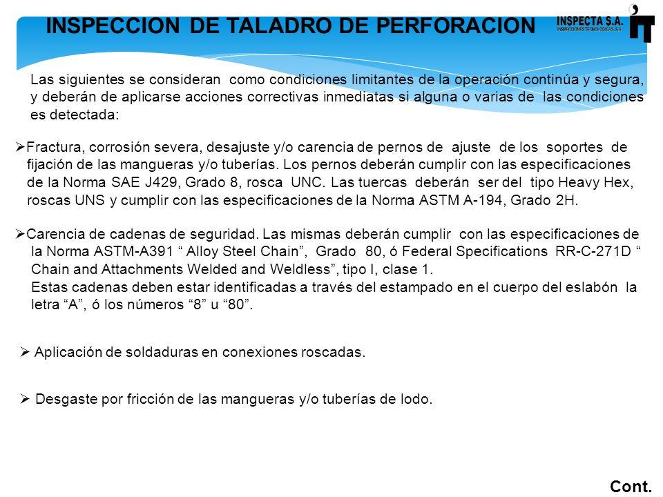 INSPECCION DE TALADRO DE PERFORACION Cont. Las siguientes se consideran como condiciones limitantes de la operación continúa y segura, y deberán de ap