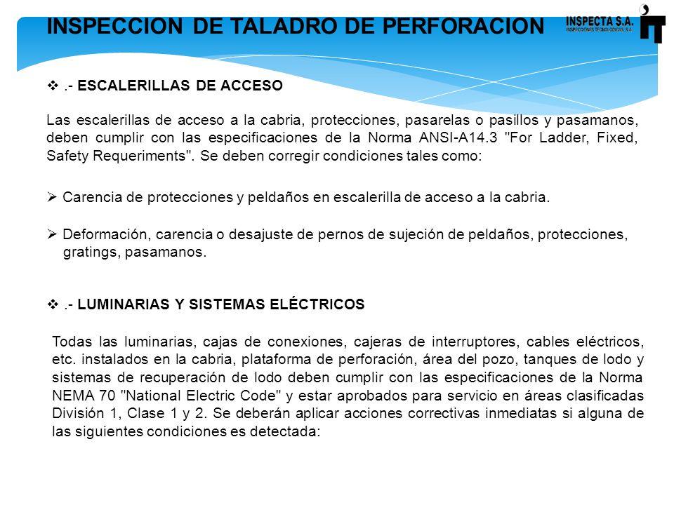 INSPECCION DE TALADRO DE PERFORACION.- ESCALERILLAS DE ACCESO Las escalerillas de acceso a la cabria, protecciones, pasarelas o pasillos y pasamanos,