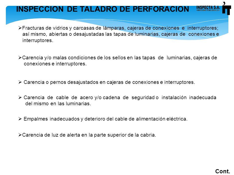 INSPECCION DE TALADRO DE PERFORACION Cont. Fracturas de vidrios y carcasas de lámparas, cajeras de conexiones e interruptores; así mismo, abiertas o d