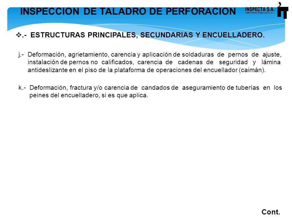 INSPECCION DE TALADRO DE PERFORACION.- ESTRUCTURAS PRINCIPALES, SECUNDARIAS Y ENCUELLADERO. Cont. j.- Deformación, agrietamiento, carencia y aplicació