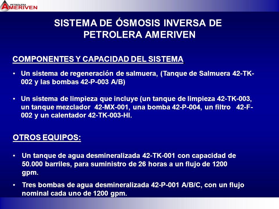SISTEMA DE ÓSMOSIS INVERSA DE PETROLERA AMERIVEN COMPONENTES Y CAPACIDAD DEL SISTEMA Un sistema de regeneración de salmuera, (Tanque de Salmuera 42-TK