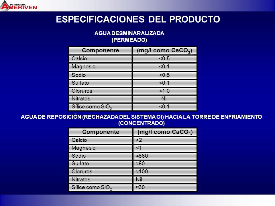 ESPECIFICACIONES DEL PRODUCTO Componente(mg/l como CaCO 3 ) Calcio<0.5 Magnesio<0.1 Sodio<0.5 Sulfato<0.1 Cloruros<1.0 NitratosNil Sílice como SiO 2 <