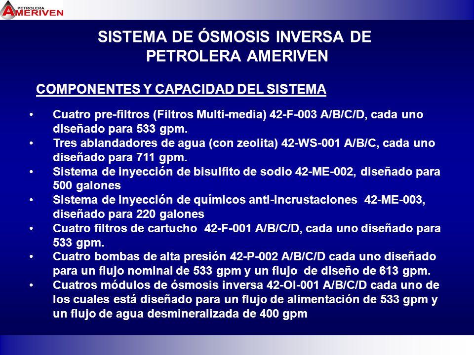 SISTEMA DE ÓSMOSIS INVERSA DE PETROLERA AMERIVEN COMPONENTES Y CAPACIDAD DEL SISTEMA Cuatro pre-filtros (Filtros Multi-media) 42-F-003 A/B/C/D, cada u