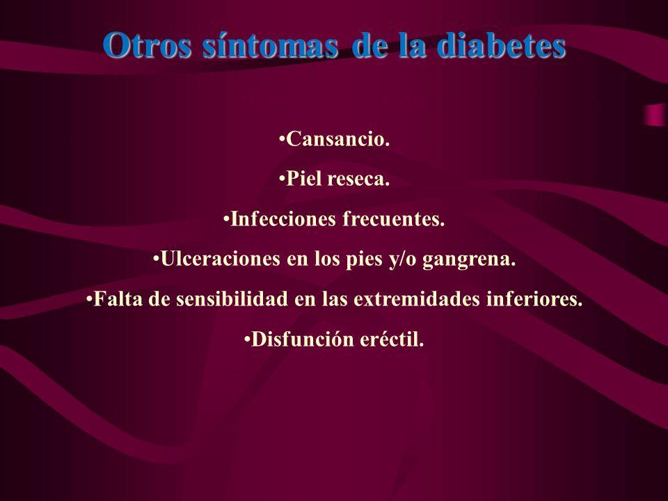 Otros síntomas de la diabetes Hambre constante. Cansancio. Piel reseca. Infecciones frecuentes. Ulceraciones en los pies y/o gangrena. Falta de sensib