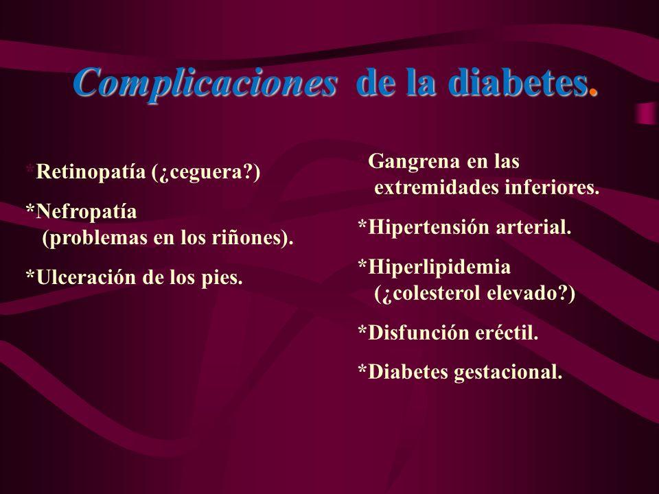 Complicaciones de la diabetes. *Gangrena en las extremidades inferiores. *Hipertensión arterial. *Hiperlipidemia (¿colesterol elevado?) *Disfunción er