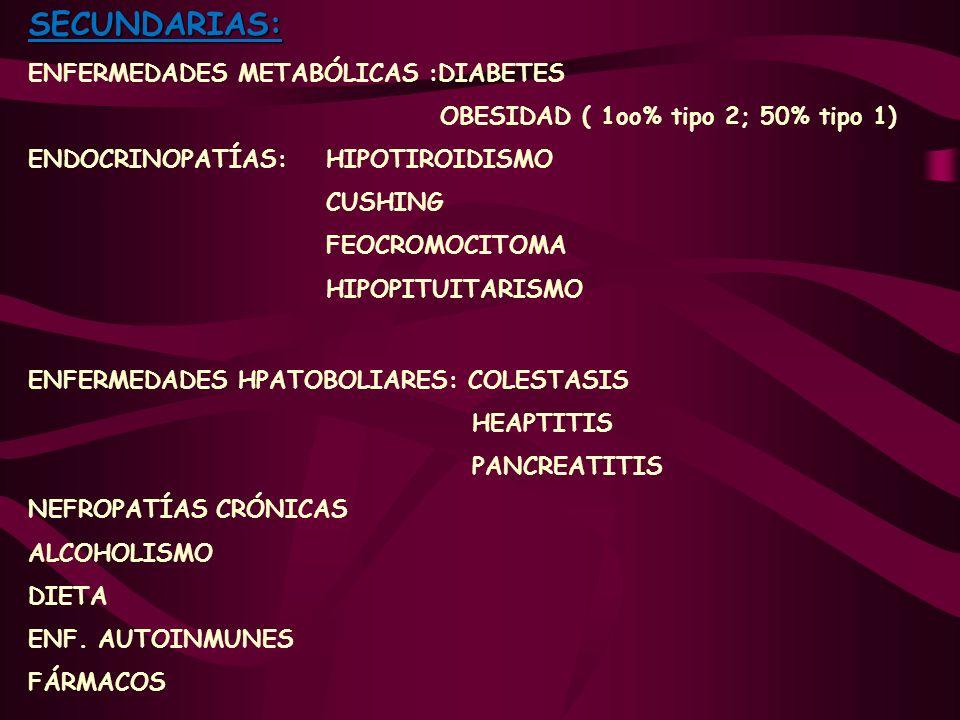 SECUNDARIAS: ENFERMEDADES METABÓLICAS :DIABETES OBESIDAD ( 1oo% tipo 2; 50% tipo 1) ENDOCRINOPATÍAS: HIPOTIROIDISMO CUSHING FEOCROMOCITOMA HIPOPITUITA