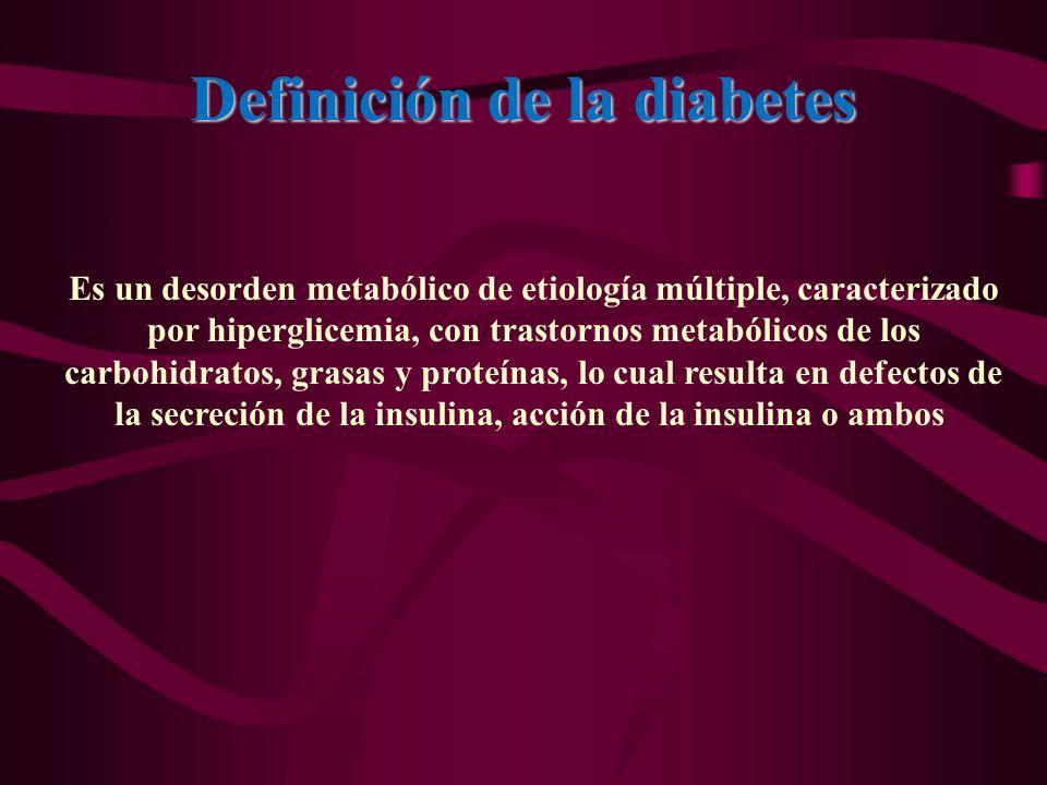 Definición de la diabetes Es un desorden metabólico de etiología múltiple, caracterizado por hiperglicemia, con trastornos metabólicos de los carbohid