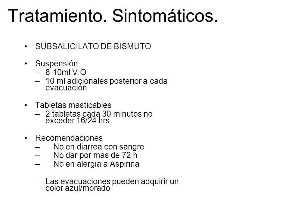 Tratamiento. Sintomáticos. SUBSALICILATO DE BISMUTO Suspensión –8-10ml V.O –10 ml adicionales posterior a cada evacuación Tabletas masticables –2 tabl