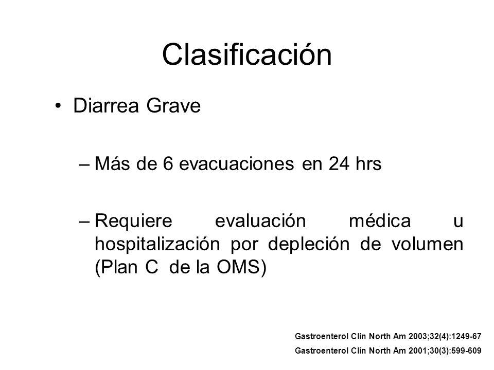 Clasificación Diarrea Grave –Más de 6 evacuaciones en 24 hrs –Requiere evaluación médica u hospitalización por depleción de volumen (Plan C de la OMS)