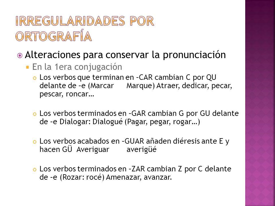 Alteraciones para conservar la pronunciación En la 2da conjugación Los verbos que terminan en –GER o GIR cambian g por j antes de a y o Coger: Cojo (Emerger, proteger) Dirigir: dirijo (Mugir, rugir) Los verbos terminados en –GIR suprimen la U ante a y o (Seguir: sigo, siga/Conseguir, extingir) Los verbos acabados en –QUIR cambian QU por c ante a y o (Delinquir: delinco, delinca