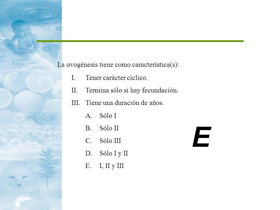 La ovogénesis tiene como característica(s): I.Tener carácter cíclico. II.Termina sólo si hay fecundación. III.Tiene una duración de años. A.Sólo I B.S