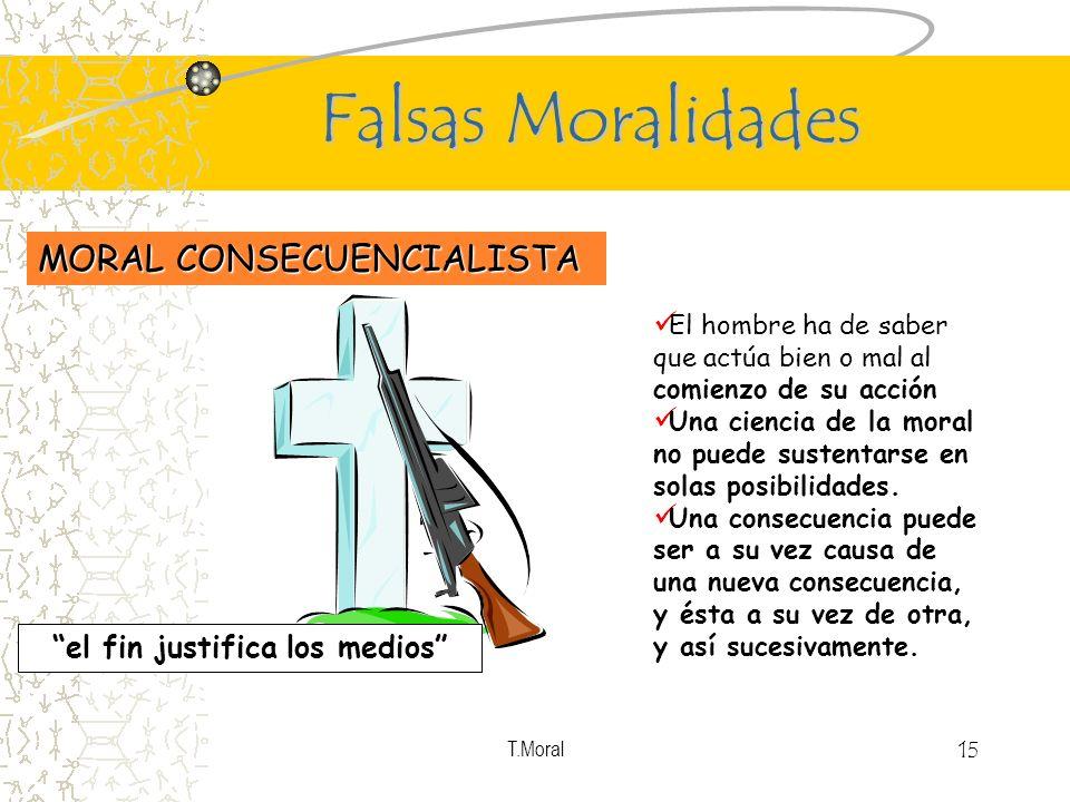 T.Moral 15 Falsas Moralidades MORAL CONSECUENCIALISTA El hombre ha de saber que actúa bien o mal al comienzo de su acción Una ciencia de la moral no p