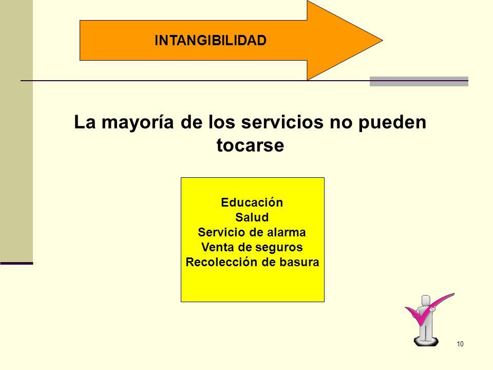 9 CARACTERÍSTICAS DE UN SERVICIO INTANGIBILIDAD DINAMISMO VARIABILIDAD INSEPARABILIDAD