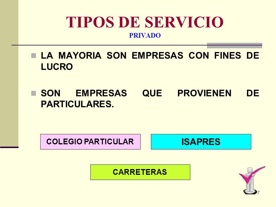 16 TIPOS DE SERVICIO PÚBLICO SON AQUELLOS SERVICIOS QUE DEPENDEN DEL ESTADO. EL ESTADO ES QUIEN INVIERTE EN BIENES Y SERVICIOS. LICEO MUNICIPAL CONAF