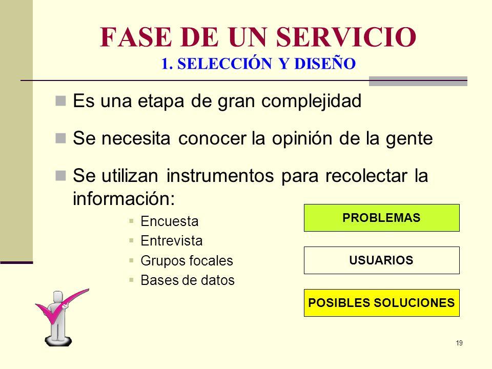 18 FASE EN LA PRODUCCION DE UN SERVICIO SELECCIÓN Y DISEÑO EVALUACION DEL SERVICIO PLANIFICACION Y DESARROLLO