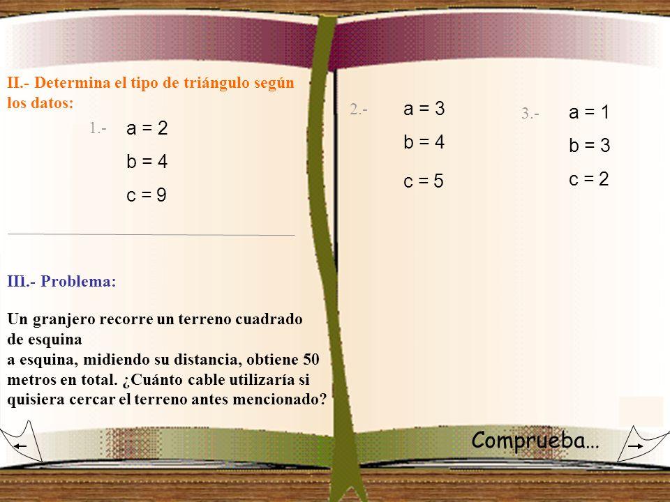 II.- Determina el tipo de triángulo según los datos: 1.- 3.- 2.- a = 2 b = 4 c = 9 a = 3 b = 4 c = 5 a = 1 b = 3 c = 2 III.- Problema: 1.- Un granjero
