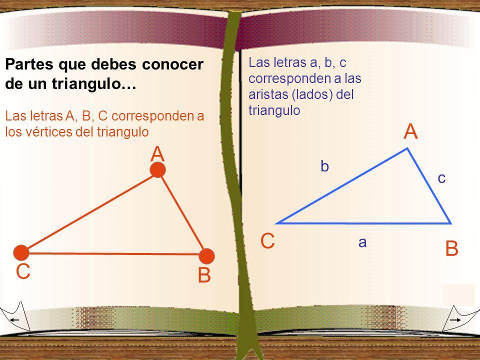 Partes que debes conocer de un triangulo… A C B Las letras A, B, C corresponden a los vértices del triangulo A C B Las letras a, b, c corresponden a l