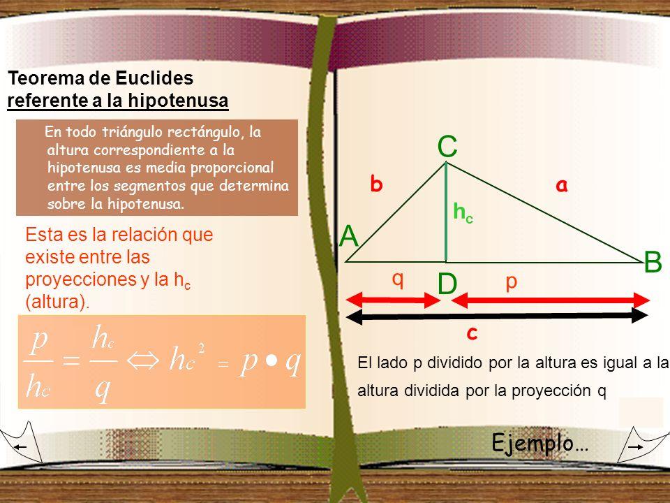Teorema de Euclides referente a la hipotenusa hchc A B C q p D Esta es la relación que existe entre las proyecciones y la h c (altura). El lado p divi
