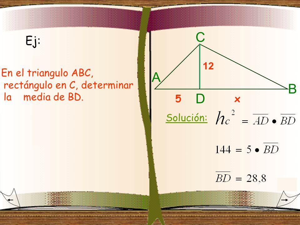 Ej: En el triangulo ABC, rectángulo en C, determinar la media de BD. 12 A B C D 5x Solución: