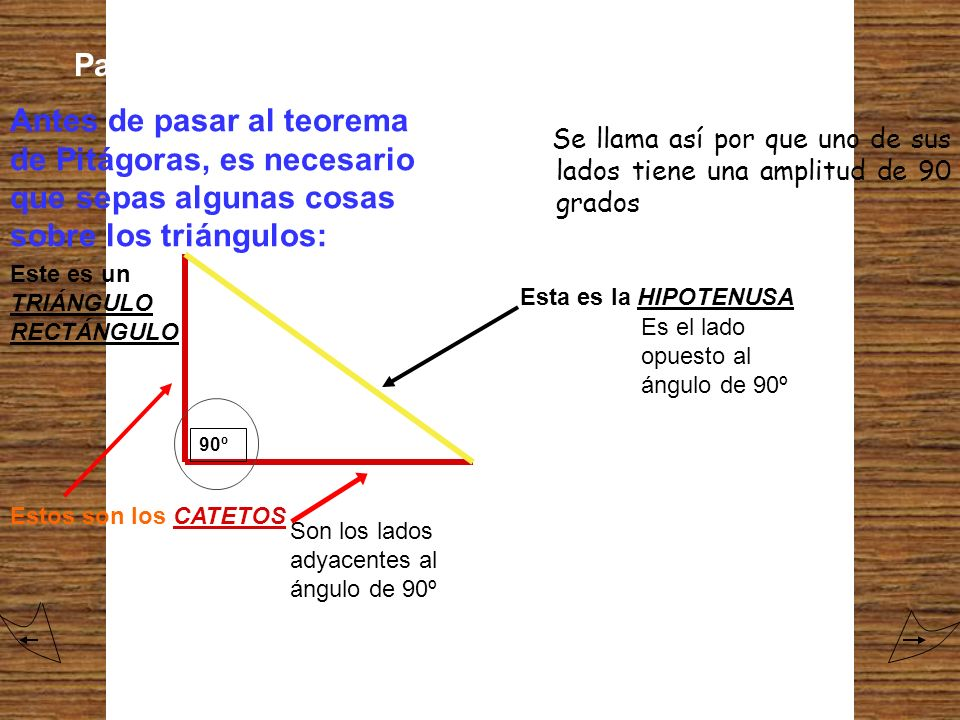 Para comenzar... Antes de pasar al teorema de Pitágoras, es necesario que sepas algunas cosas sobre los triángulos: Este es un TRIÁNGULO RECTÁNGULO Es
