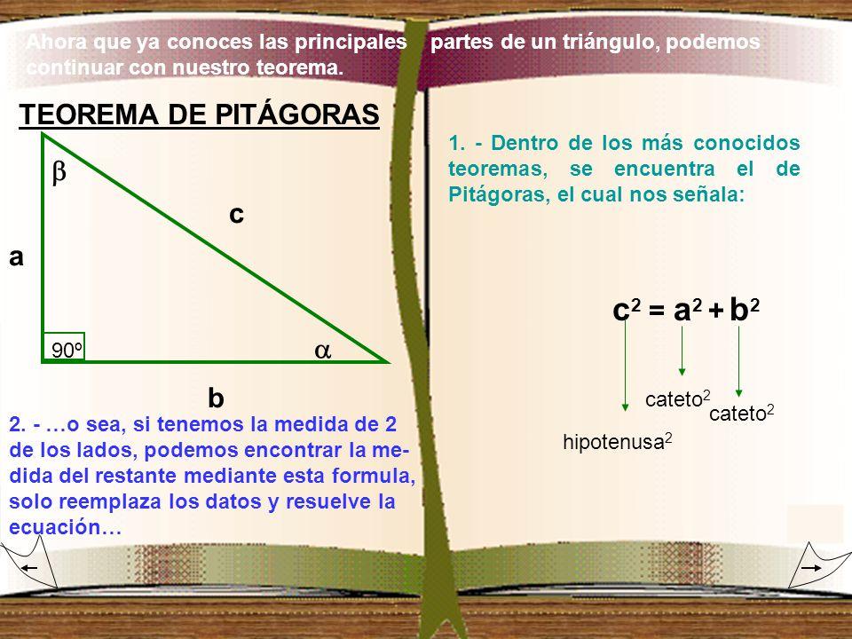 Ahora que ya conoces las principales partes de un triángulo, podemos continuar con nuestro teorema. TEOREMA DE PITÁGORAS 90º c a b 1. - Dentro de los