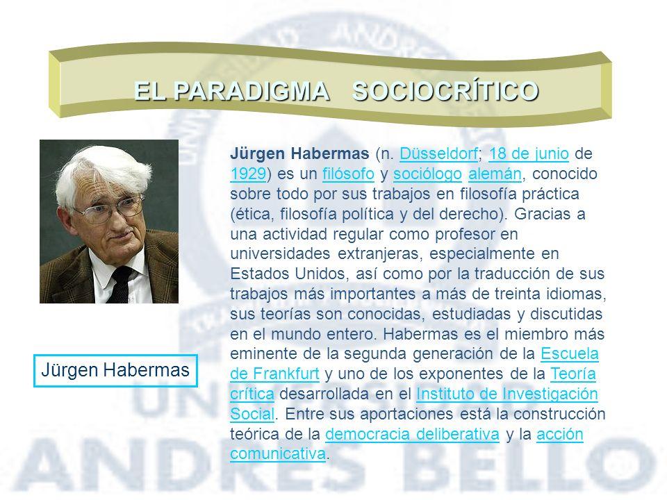 EL PARADIGMA SOCIOCRÍTICO Jürgen Habermas Jürgen Habermas (n. Düsseldorf; 18 de junio de 1929) es un filósofo y sociólogo alemán, conocido sobre todo