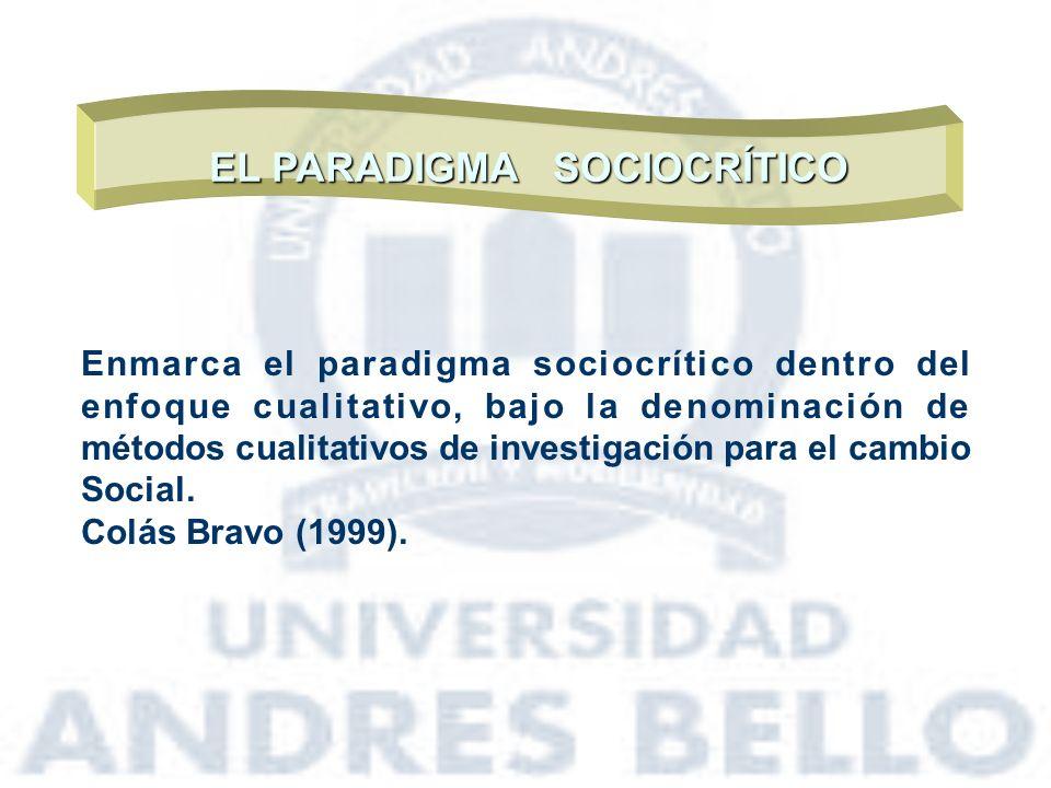 EL PARADIGMA SOCIOCRÍTICO Enmarca el paradigma sociocrítico dentro del enfoque cualitativo, bajo la denominación de métodos cualitativos de investigac