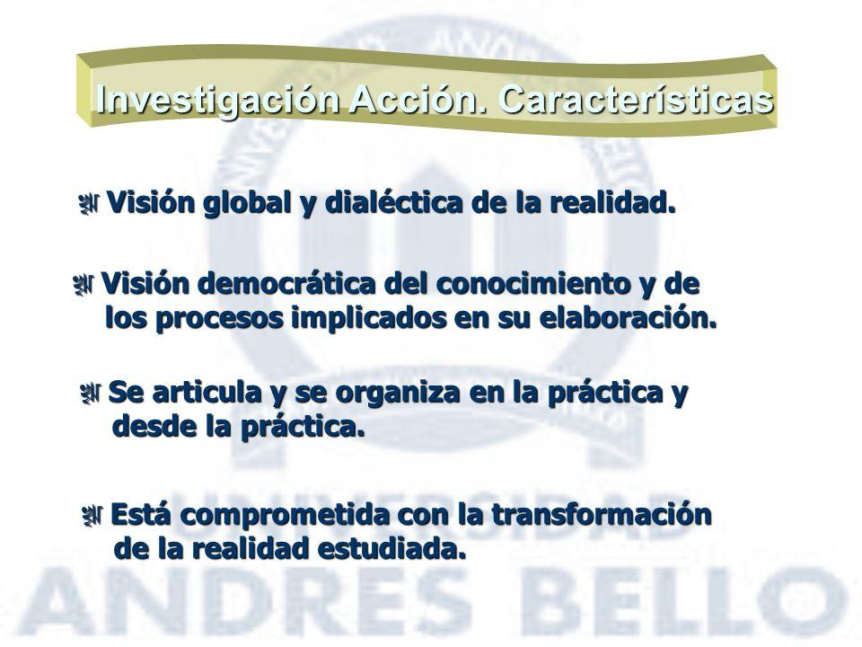 Investigación Acción. Características Visión global y dialéctica de la realidad. Visión global y dialéctica de la realidad. Visión democrática del con