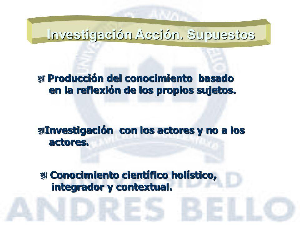Investigación Acción. Supuestos Producción del conocimiento basado Producción del conocimiento basado en la reflexión de los propios sujetos. en la re