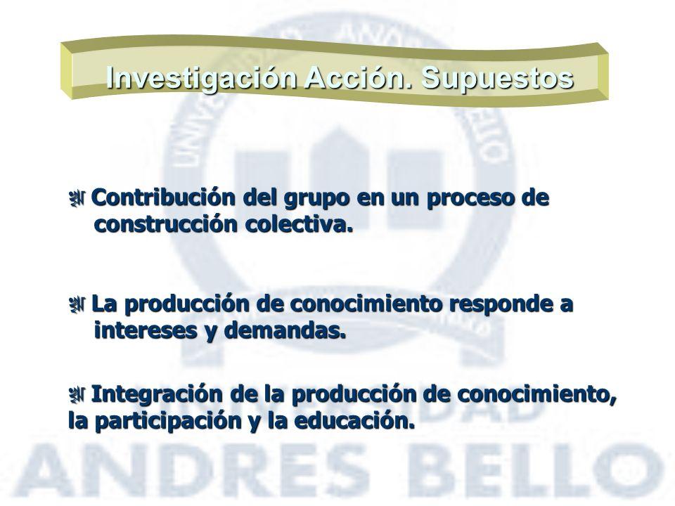 Investigación Acción. Supuestos Contribución del grupo en un proceso de Contribución del grupo en un proceso de construcción colectiva. construcción c