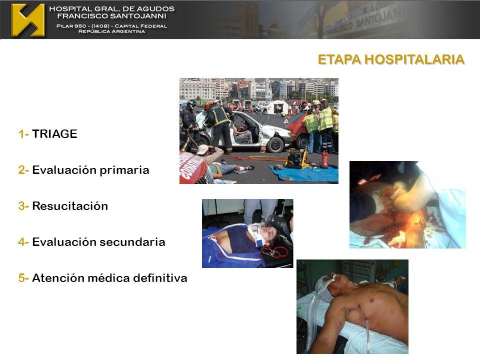 ETAPA HOSPITALARIA 1- TRIAGE 2- Evaluación primaria 3- Resucitación 4- Evaluación secundaria 5- Atención médica definitiva