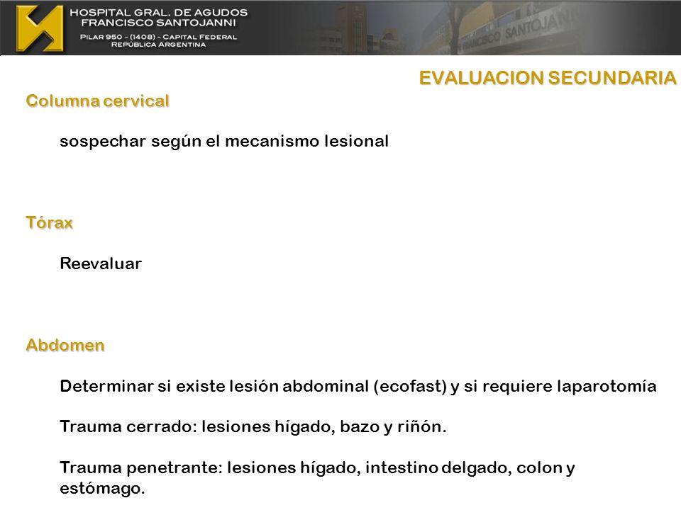 Columna cervical sospechar según el mecanismo lesionalTórax ReevaluarAbdomen Determinar si existe lesión abdominal (ecofast) y si requiere laparotomía