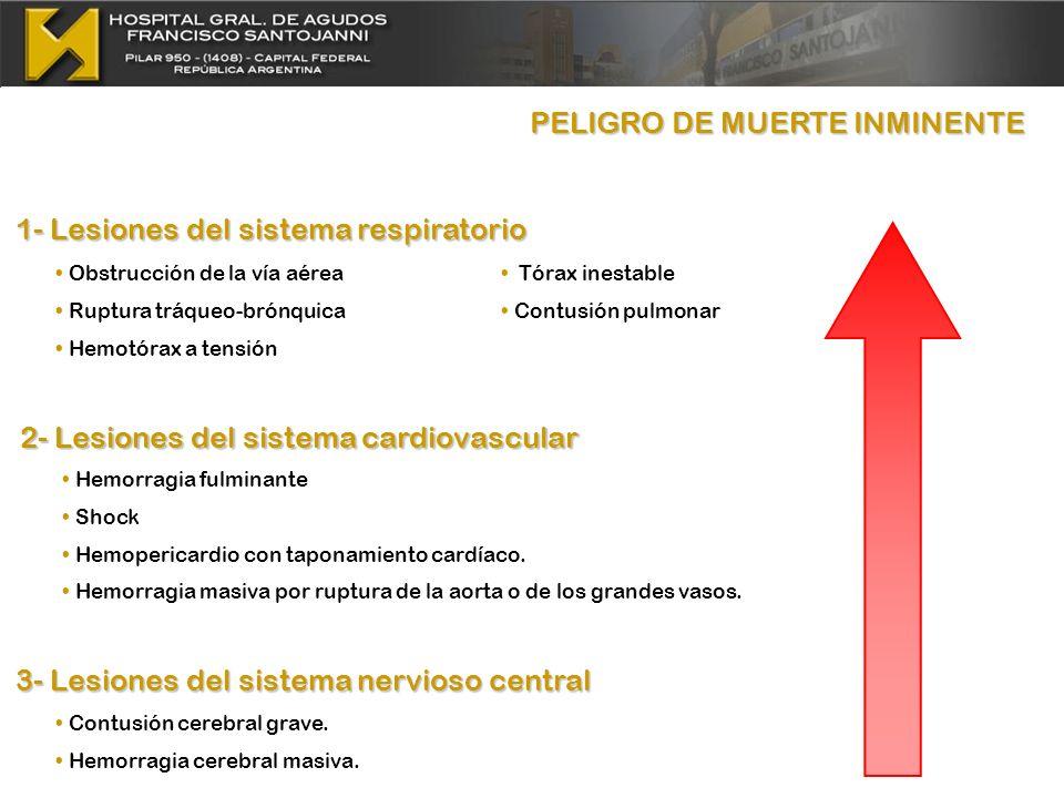 PELIGRO DE MUERTE INMINENTE PELIGRO DE MUERTE INMINENTE Obstrucción de la vía aérea Ruptura tráqueo-brónquica Hemotórax a tensión Hemorragia fulminant