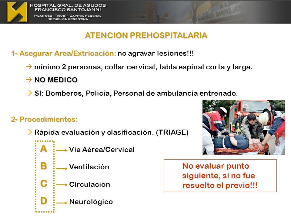 ATENCION PREHOSPITALARIA 1- Asegurar Area/Extricación: 1- Asegurar Area/Extricación: no agravar lesiones!!! mínimo 2 personas, collar cervical, tabla