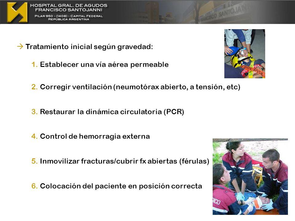 Tratamiento inicial según gravedad: 1. Establecer una vía aérea permeable 2. Corregir ventilación (neumotórax abierto, a tensión, etc) 3. Restaurar la