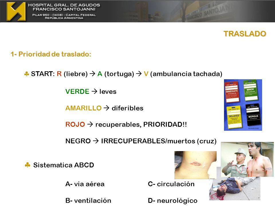 TRASLADO 1- Prioridad de traslado: START: R (liebre) A (tortuga) V (ambulancia tachada) VERDE leves AMARILLO diferibles ROJO recuperables, PRIORIDAD!!