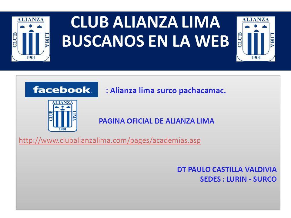 CLUB ALIANZA LIMA CONTACTENOS TELF : 5702004 - 2854153 CEL : 993442798 - 980557633 Nextel : 614*2267 - 614*3807 Mail: angelaraquel19@hotmail.com angel