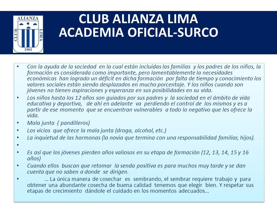 CLUB ALIANZA LIMA ACADEMIA OFICIAL-SURCO Estimado Sr.(a): A nombre de la academia de futbol del club alianza lima sede surco, saludamos a usted y dánd