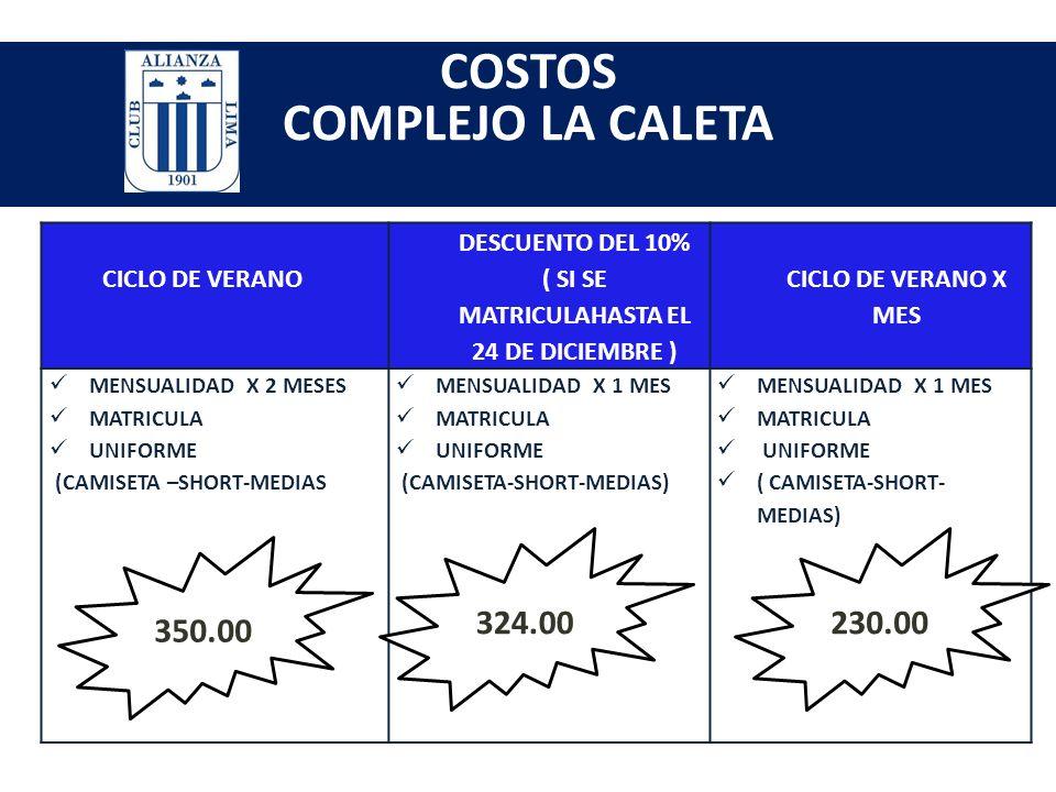 COMPLEJO LA CALETA Av. los próceres cuadra 5 s/n a tres cuadras de plaza vea de la bolichera – surco HORARIOS DE ENTRENAMIENTOS: Martes : 4:30pm a 6:0