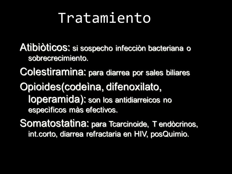 Tratamiento Atibiòticos: si sospecho infecciòn bacteriana o sobrecrecimiento. Colestiramina: para diarrea por sales biliares Opioides(codeìna, difenox