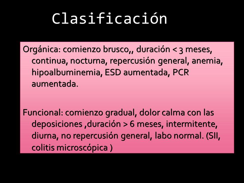 Clasificación Alta: dolor periumbilical, <4 deposiciones, volumen aumentado, amarillenta, pastosa o acuosa.