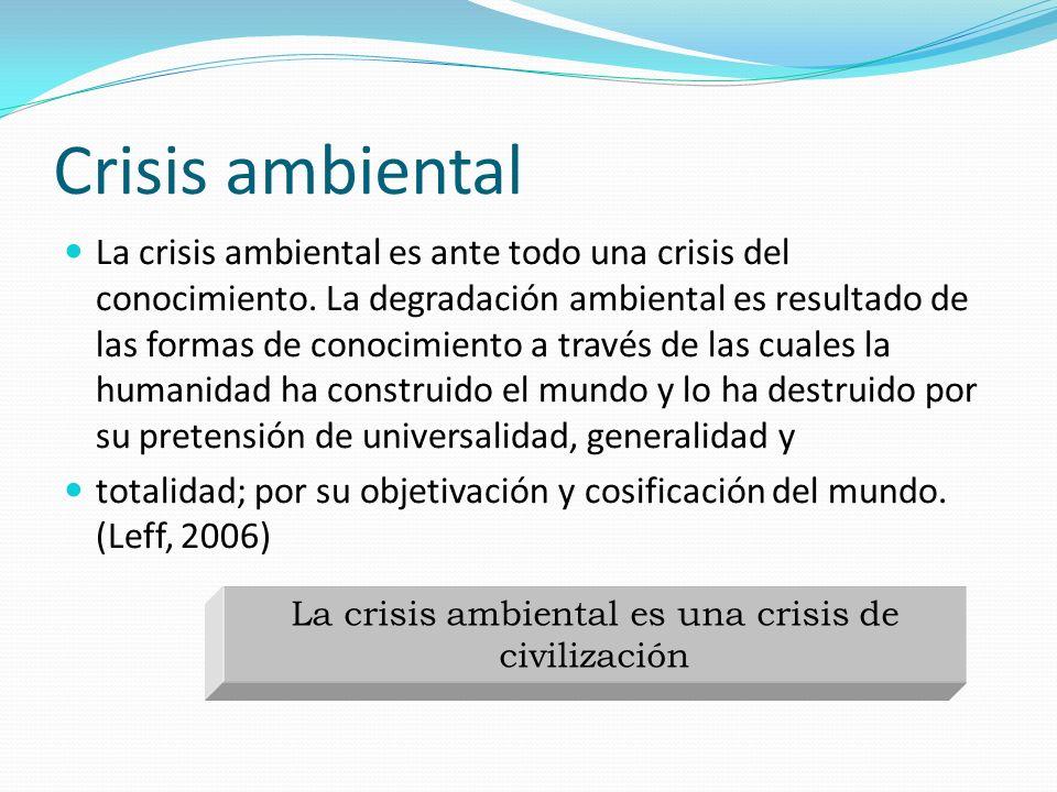 Crisis ambiental La crisis ambiental es ante todo una crisis del conocimiento. La degradación ambiental es resultado de las formas de conocimiento a t
