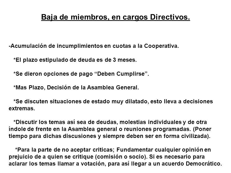 Baja de miembros, en cargos Directivos. -Acumulación de incumplimientos en cuotas a la Cooperativa. *El plazo estipulado de deuda es de 3 meses. *Se d