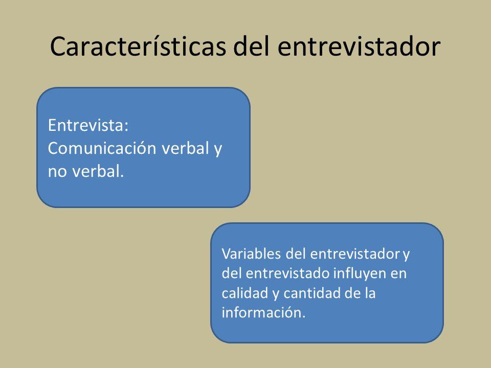 Características del entrevistador Entrevista: Comunicación verbal y no verbal. Variables del entrevistador y del entrevistado influyen en calidad y ca