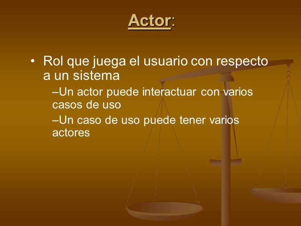 Actor: Rol que juega el usuario con respecto a un sistema –Un actor puede interactuar con varios casos de uso –Un caso de uso puede tener varios actor