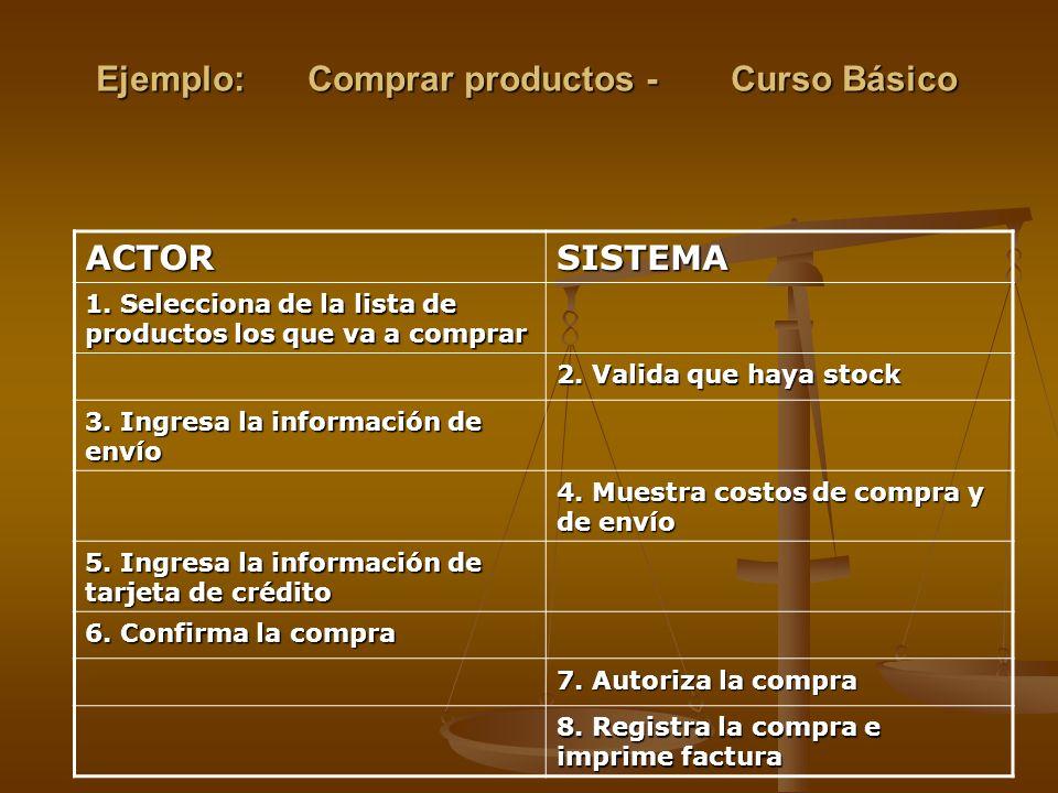 Ejemplo: Comprar productos -Curso Básico ACTORSISTEMA 1. Selecciona de la lista de productos los que va a comprar 2. Valida que haya stock 3. Ingresa