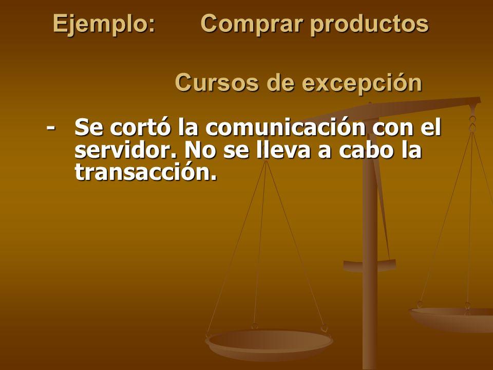 Ejemplo: Comprar productos Cursos de excepción - Se cortó la comunicación con el servidor. No se lleva a cabo la transacción.
