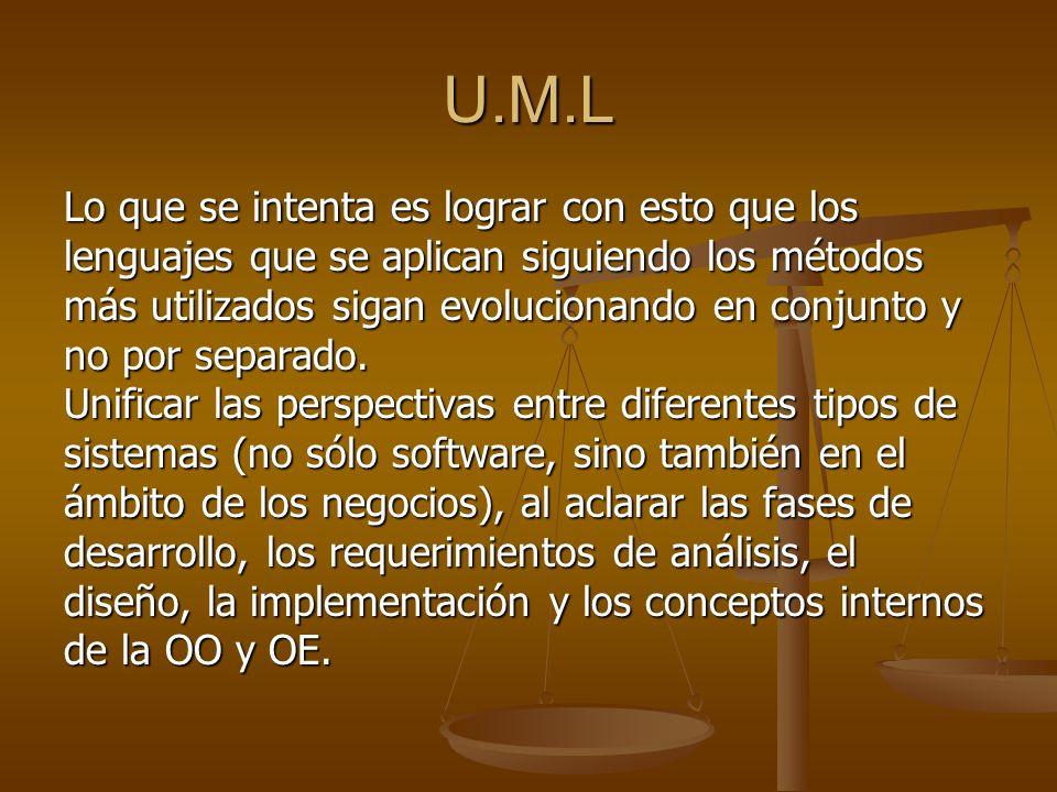 U.M.L Lo que se intenta es lograr con esto que los lenguajes que se aplican siguiendo los métodos más utilizados sigan evolucionando en conjunto y no